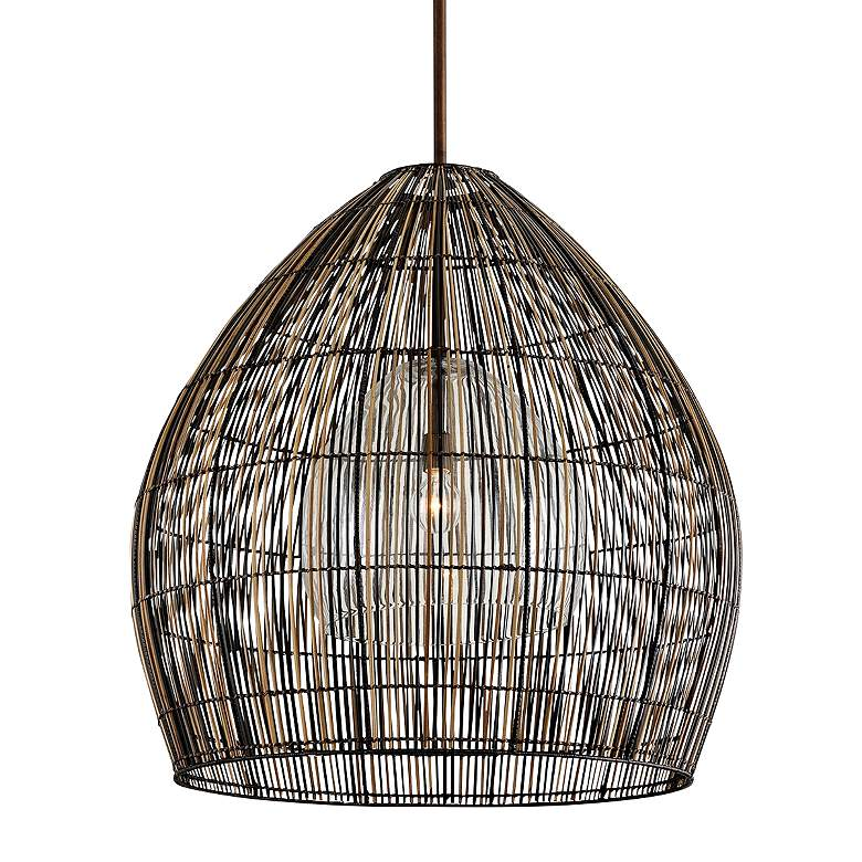 "Holden 35"" Wide Bronze Woven Dome Pendant Light"
