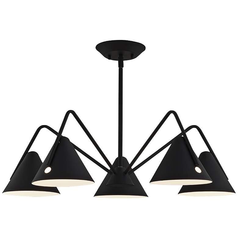 """Zag 28"""" Wide Matte Black Textured 5-Light LED Chandelier"""