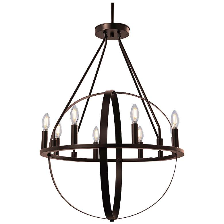 "Justice Design Orbit 24"" Wide Dark Bronze 8-Light Chandelier"
