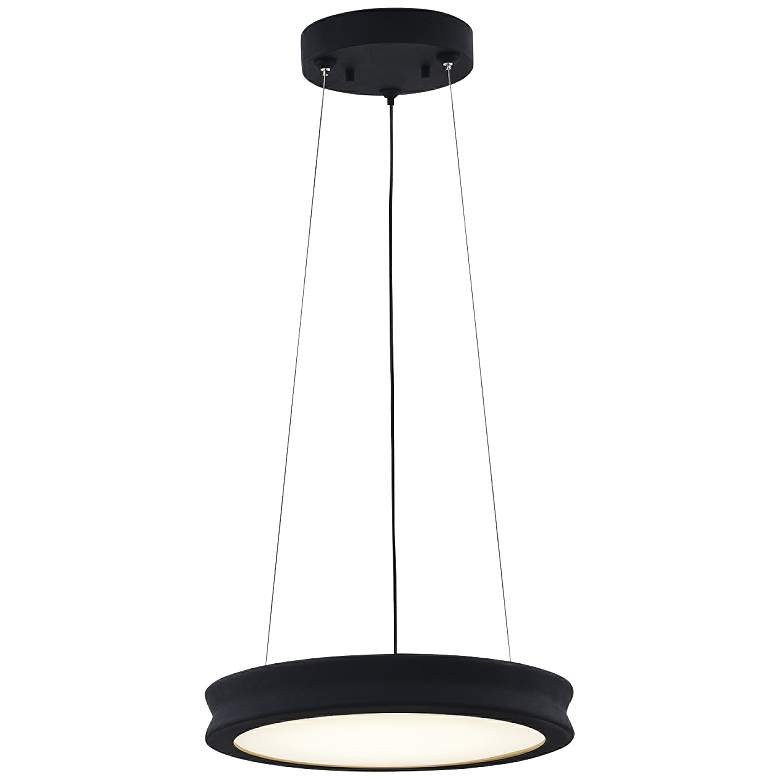 "Fusion™ Bevel 12 1/2""W Matte Black LED Pendant Light"