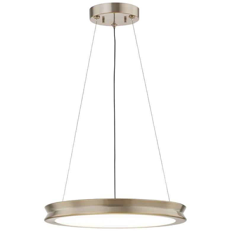 "Fusion™ Bevel 16"" Wide Brushed Brass LED Pendant Light"