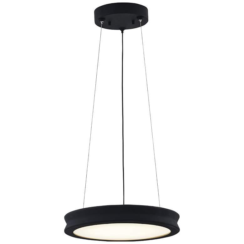 "Fusion™ Bevel 16"" Wide Matte Black LED Pendant Light"