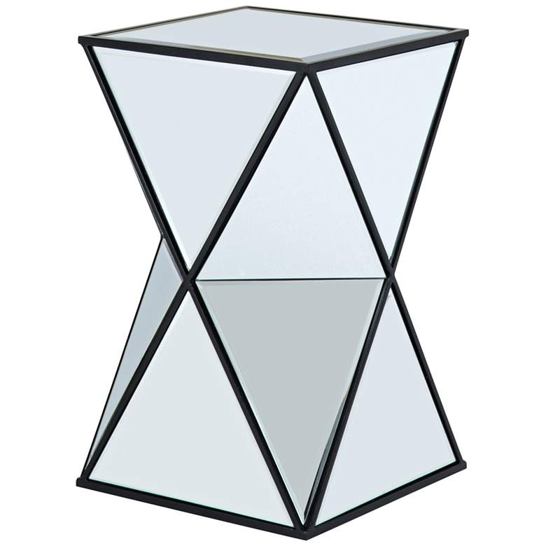"""Blick 12 1/2"""" Wide Multi-Faced Angular Mirrored Accent Table"""