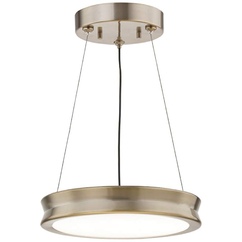 "Fusion™ Bevel 8 1/2""W Brushed Brass LED Mini Pendant"