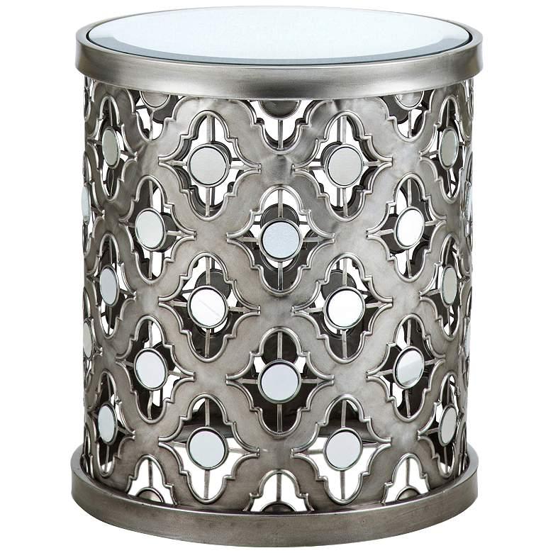 "Deon 16 1/4"" Wide Silver Quatrefoil Mirror Accent Table"