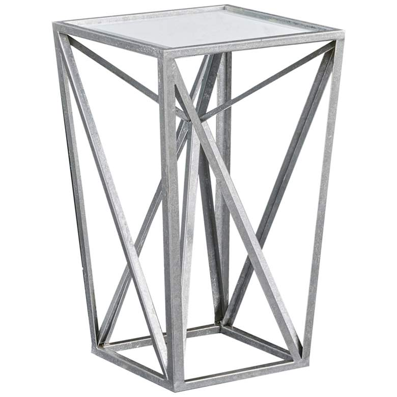 """Maxx 12 1/4"""" Wide Silver Leaf Mirrored Angular Accent Table"""