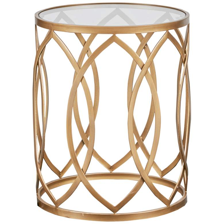 """Coen 16"""" Wide Gold Geometric Eyelet Round Accent Table"""