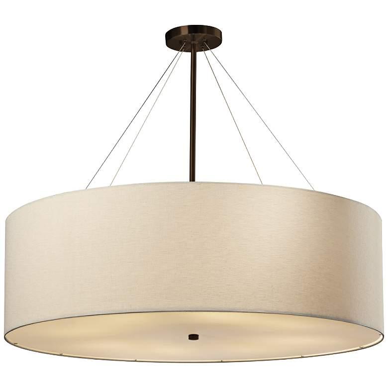 """Textile™ Classic 36""""W Bronze Cream Drum Pendant Light"""