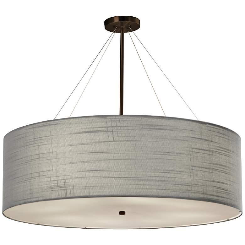 "Textile™ Classic 36""W Bronze Gray Drum Pendant Light"