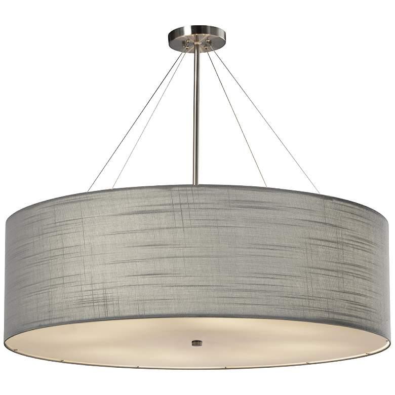 "Textile™ Classic 36""W Nickel Gray Drum Pendant Light"