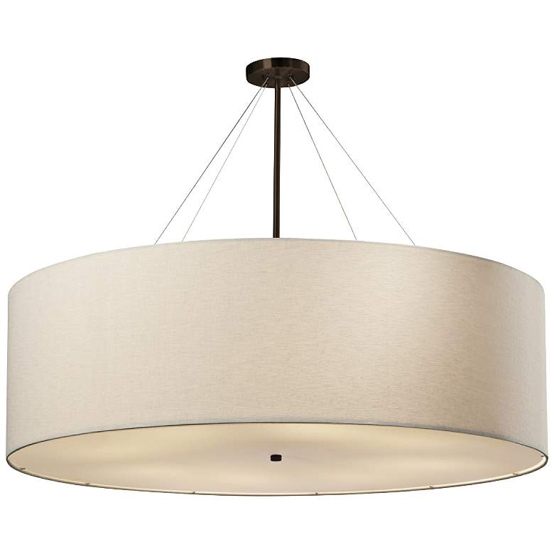 """Textile™ Classic 48""""W Bronze Cream Drum Pendant Light"""