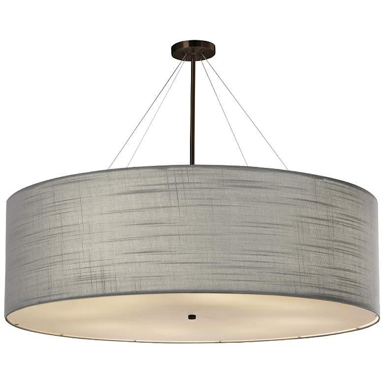 "Textile™ Classic 48""W Bronze Gray Drum Pendant Light"