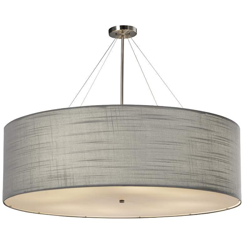 "Textile™ Classic 48""W Nickel Gray Drum Pendant Light"