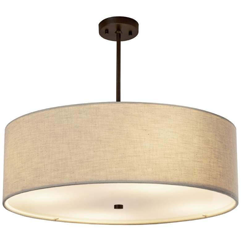 """Textile™ Classic 24""""W Bronze Cream Drum Pendant Light"""