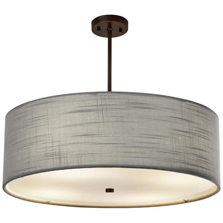"Textile™ Classic 24""W Bronze Gray Drum Pendant Light"