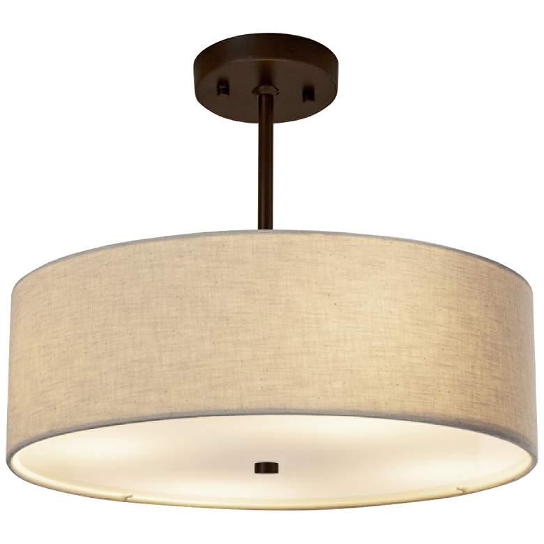"""Textile™ Classic 18""""W Bronze Cream Drum Pendant Light"""