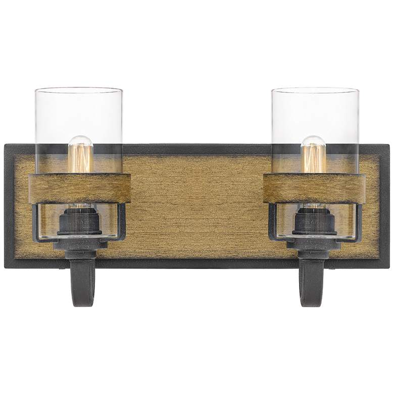 """Finch 8 3/4""""H Aged Walnut and Gray Ash 2-Light Wall Sconce"""