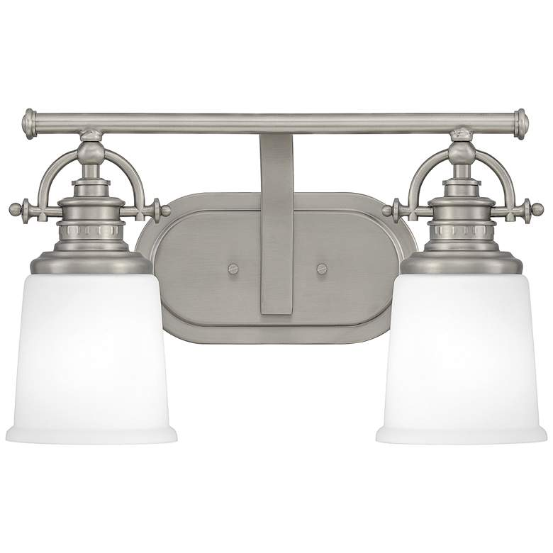 """Quoizel Grant 9 1/2"""" High Antique Nickel 2-Light Wall Sconce"""
