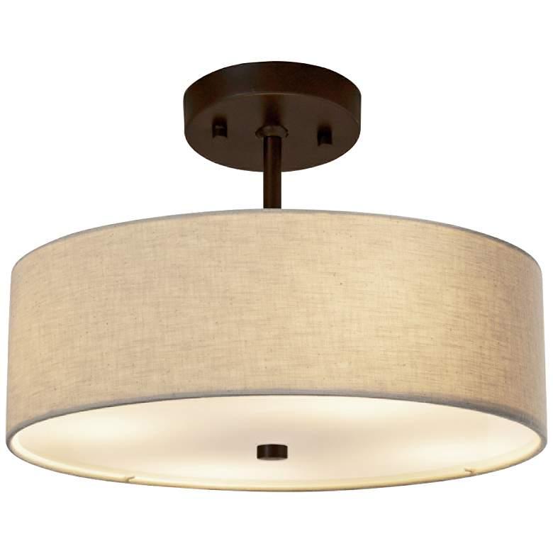 """Textile™ Classic 14""""W Bronze Cream Drum Pendant Light"""