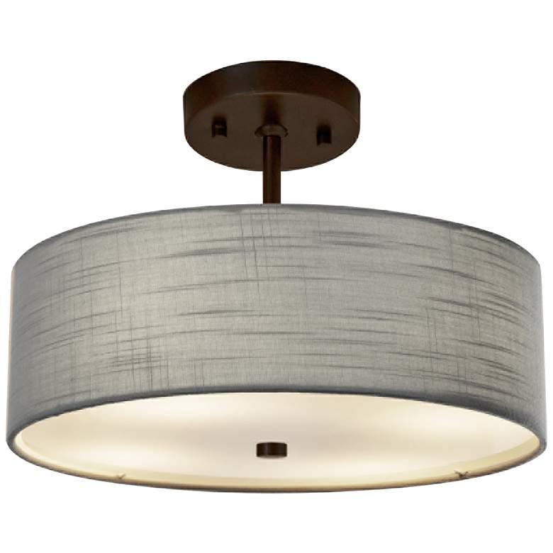 "Textile™ Classic 14""W Bronze Gray Drum Pendant Light"