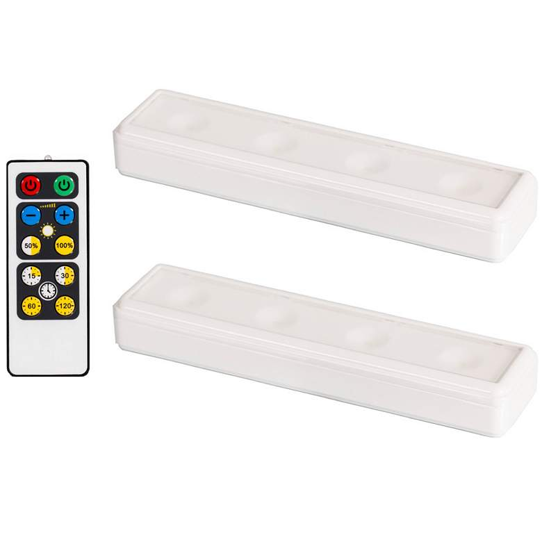 Set of 2 White LED Under Cabinet Lights with Remote