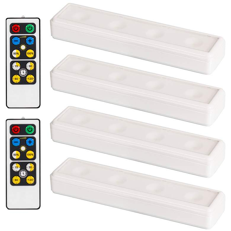 Set of 4 White LED Under Cabinet Lights with 2 Remotes