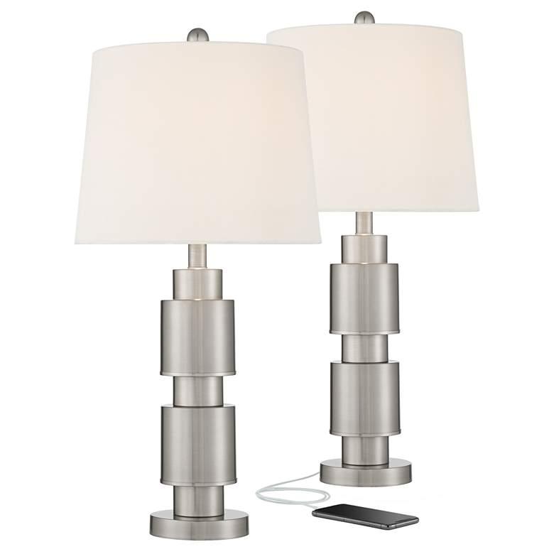 Boris Brushed Nickel Modern USB Table Lamp Set of 2