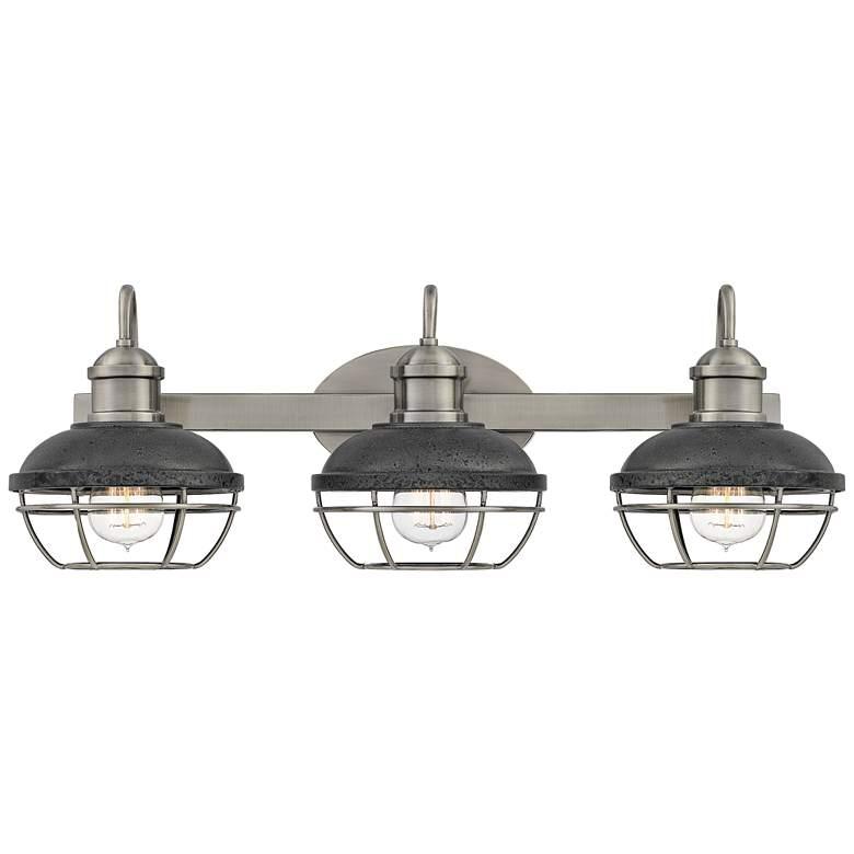 "Sandpiper 25""W Polished Nickel and Iron 3-Light Bath Light"