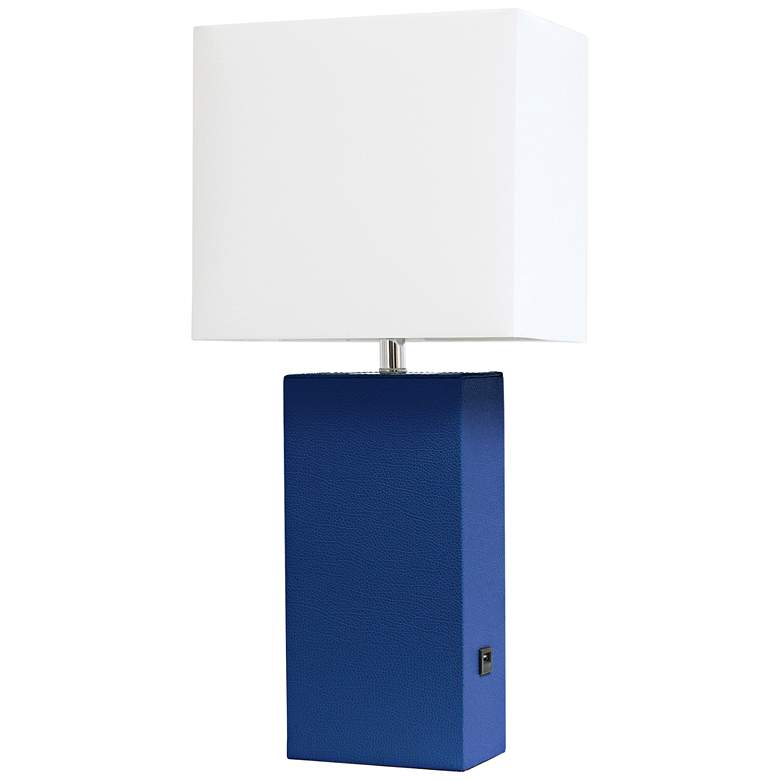 Elegant Designs Blue Leather Accent Table Lamp with USB Port
