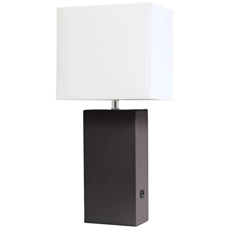 Elegant Designs Espresso Brown Leather USB Accent Table Lamp