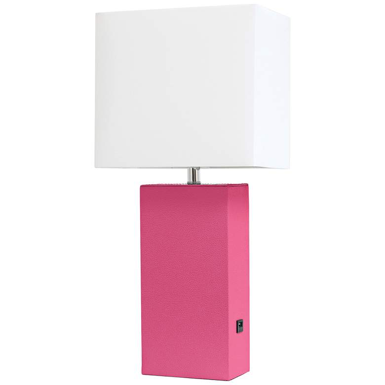 Elegant Designs Hot Pink Leather USB Accent Table Lamp