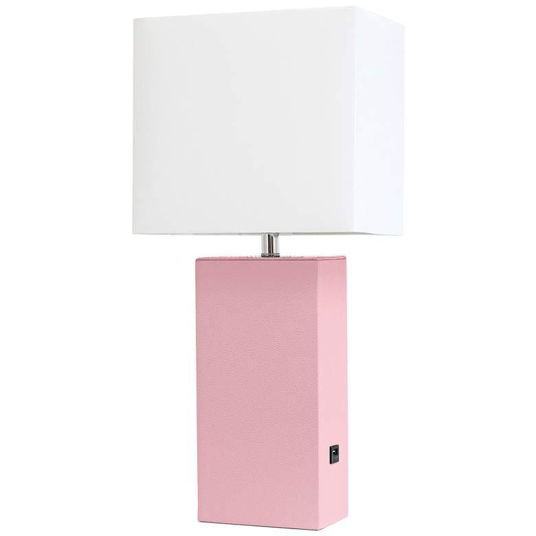 Elegant Designs Pink Leather Accent Table Lamp with USB Port