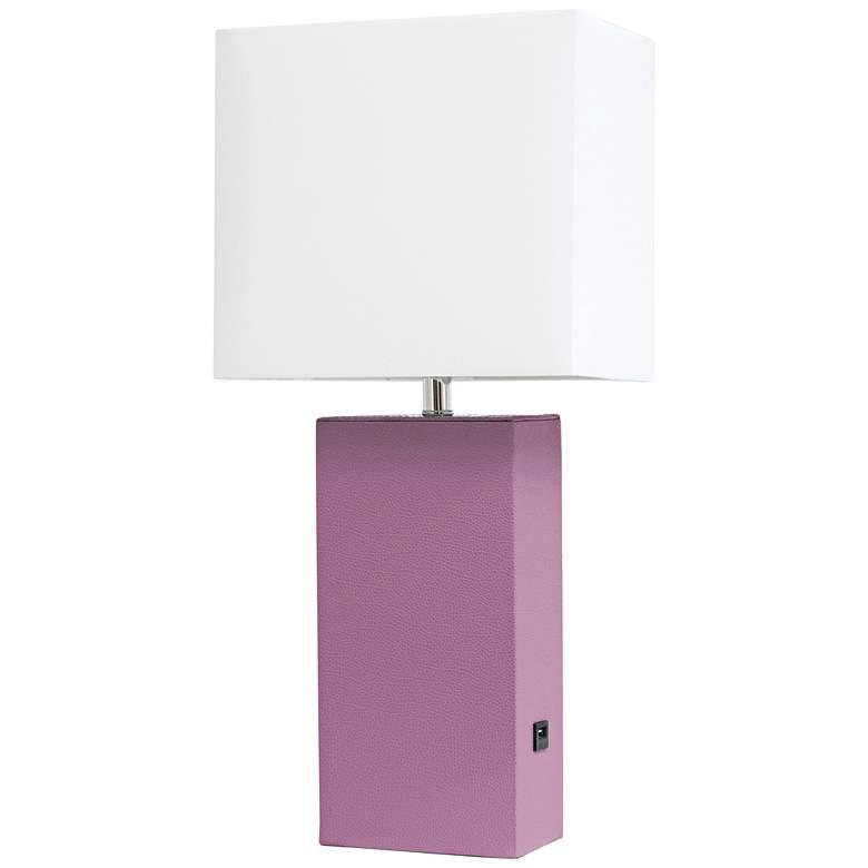 Elegant Designs Purple Leather Accent Table Lamp w/ USB Port