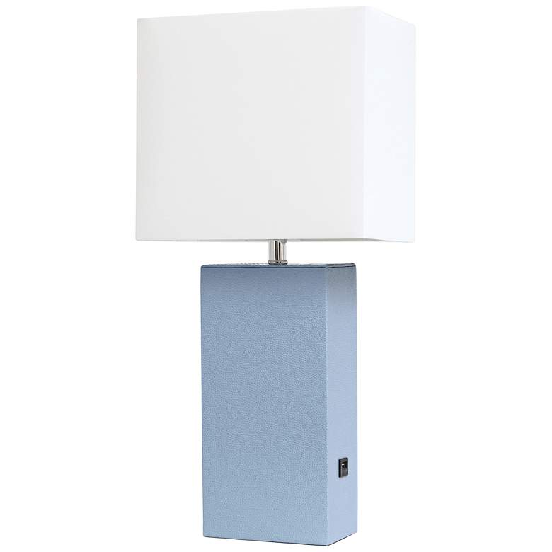 Elegant Designs Periwinkle Leather USB Accent Table Lamp
