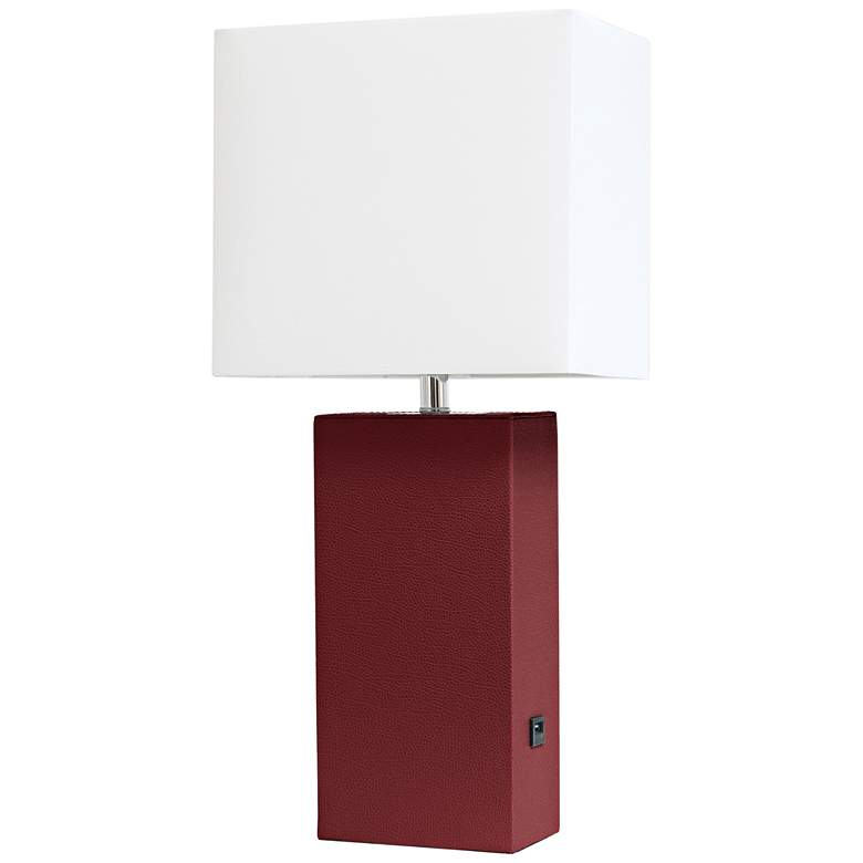 Elegant Designs Red Leather Accent Table Lamp with USB Port