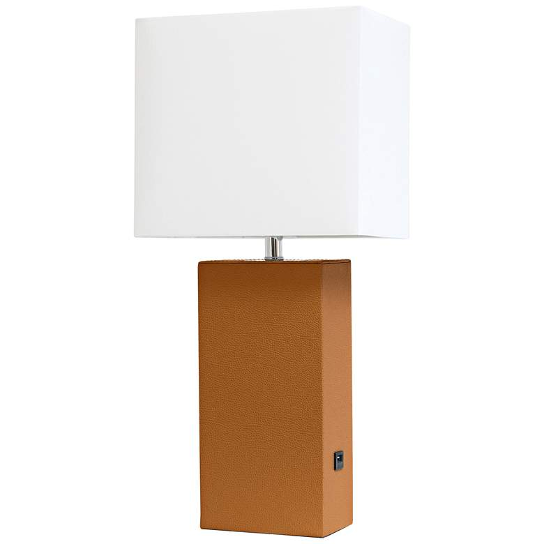 Elegant Designs Tan Leather Accent Table Lamp with USB Port