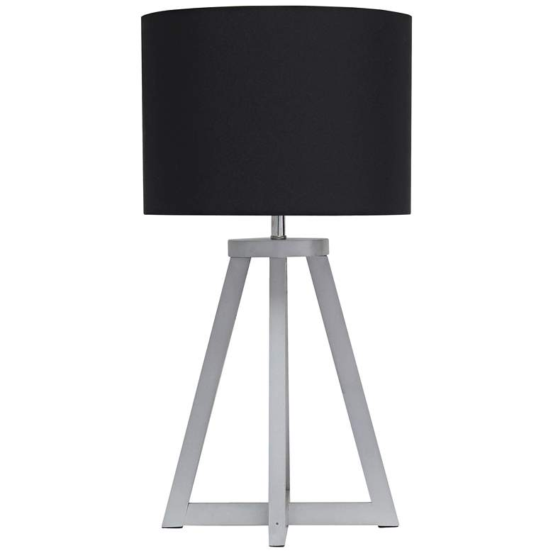 """Simple Designs 19 1/4""""H Gray Wood Black Accent Table Lamp"""
