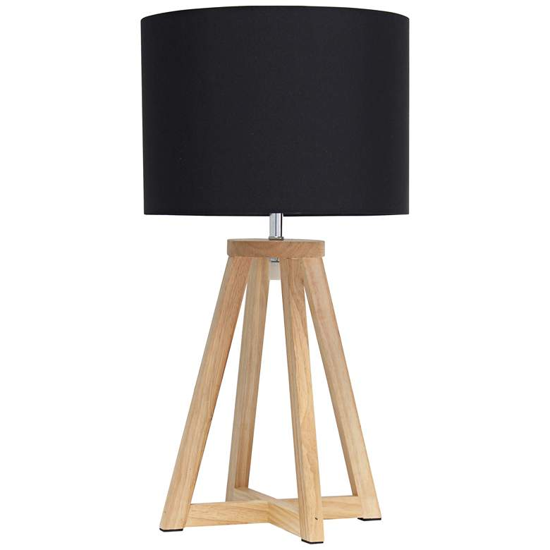 "Simple Designs 19 1/4""H Natural Wood Black Accent Table Lamp"