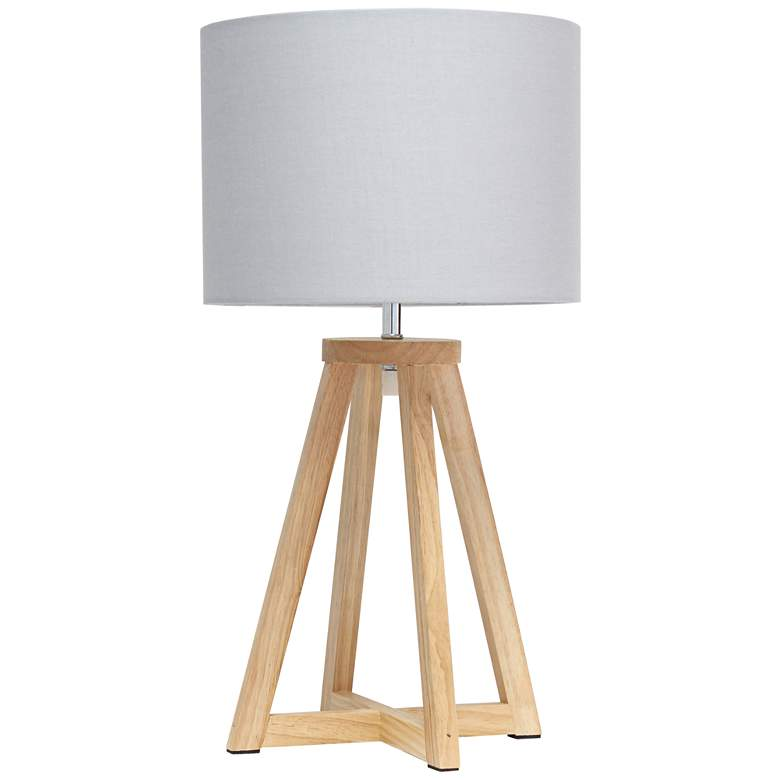 """Simple Designs 19 1/4""""H Natural Wood Gray Accent Table Lamp"""