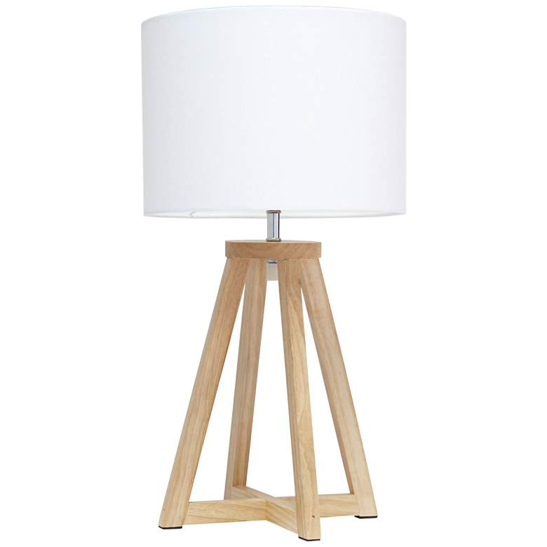 """Simple Designs 19 1/4""""H Natural Wood White Accent Table Lamp"""