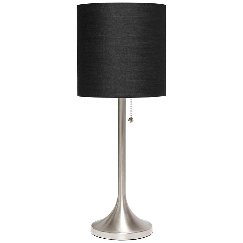 Simple Designs Nickel Accent Table Lamp with Black Shade