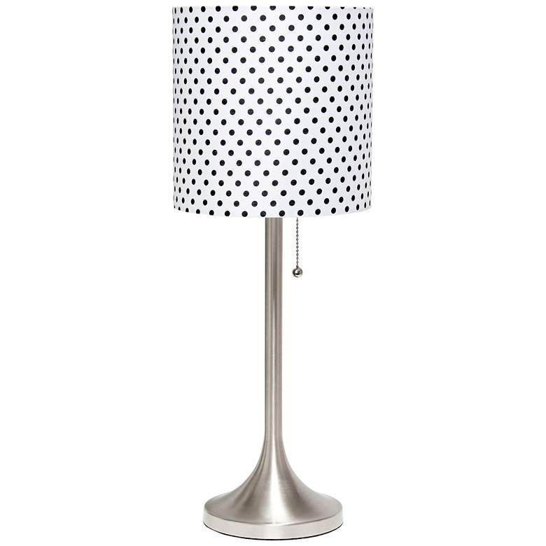 Simple Designs Nickel Accent Table Lamp w/ Polka Dots Shade