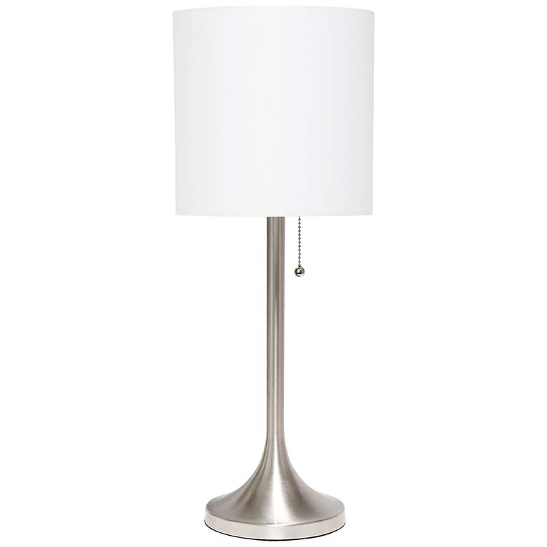 Simple Designs Nickel Accent Table Lamp with White Shade