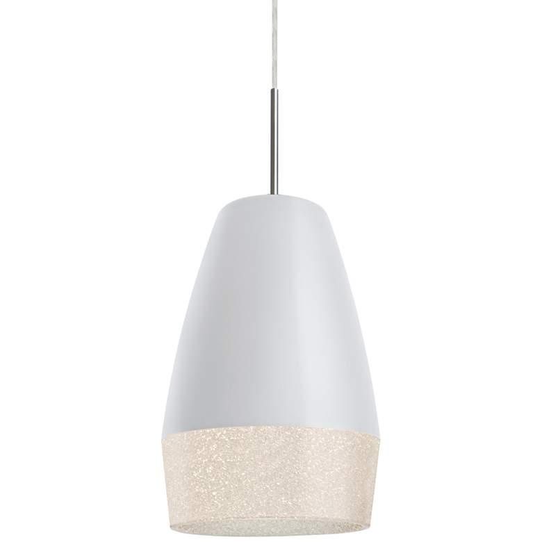 "Besa Abu 12 7 1/2""W Satin Nickel w/ White Mini Pendant Light"