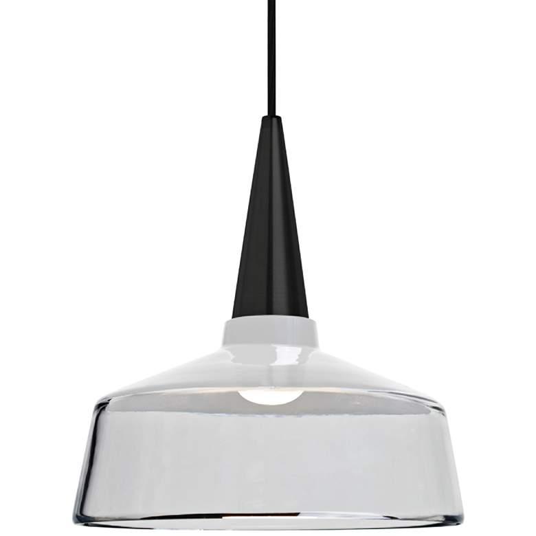 "Besa Baron 10 10""W Black and White Glass LED Mini Pendant"