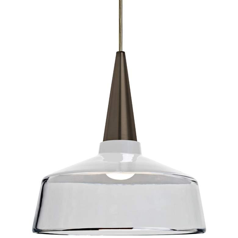 "Besa Baron 10 10""W Bronze and White Glass LED Mini Pendant"