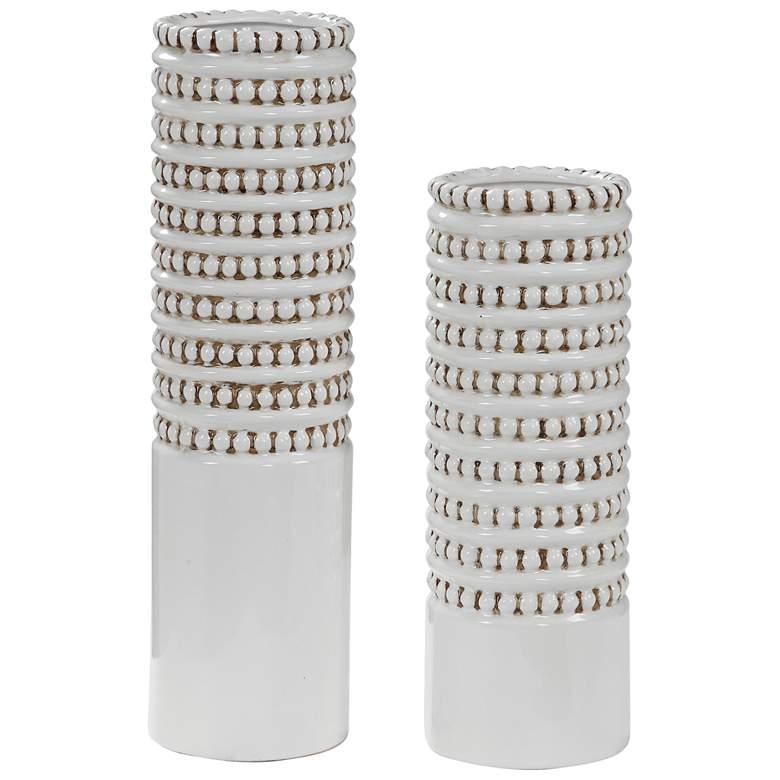 Angelou White Ceramic Vase Set of 2