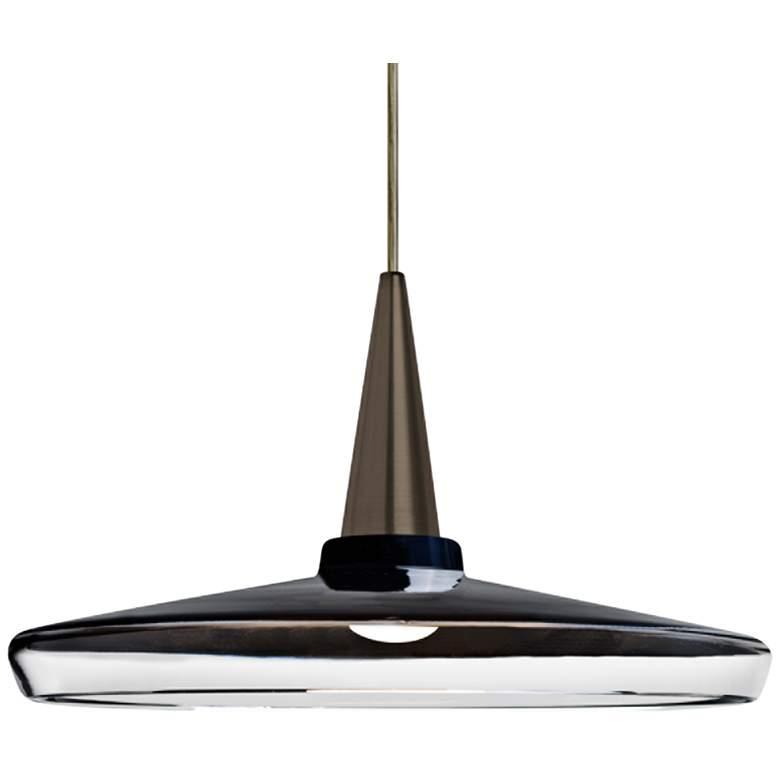 "Baron 14 13 3/4""W Bronze and Black Glass LED Pendant Light"