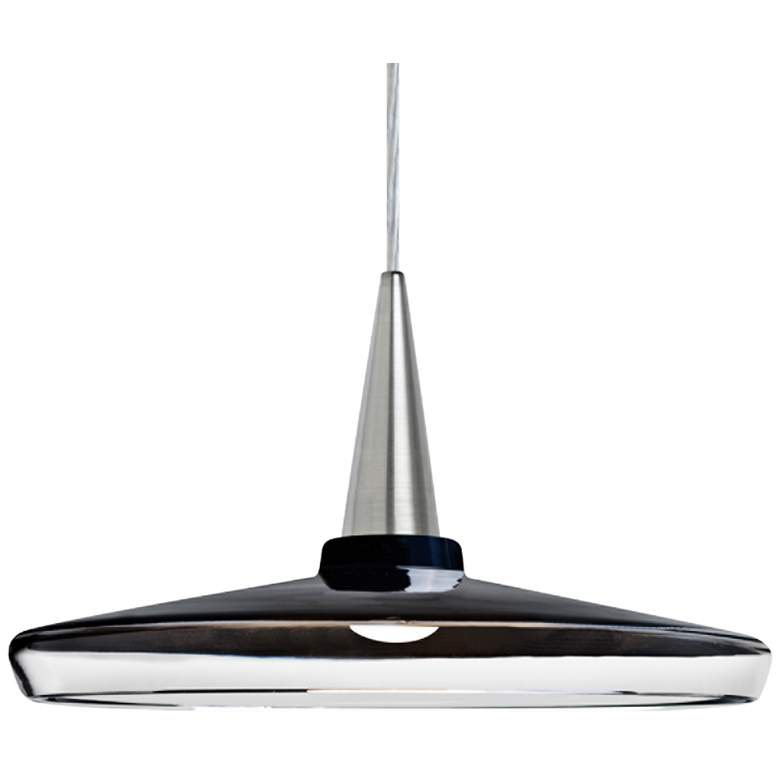"Baron 14 13 3/4""W Nickel and Black Glass LED Pendant Light"