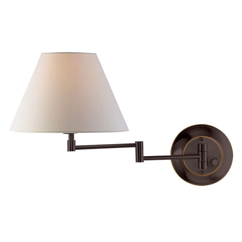 Holtkoetter Old Bronze White Shade Swing Arm Wall